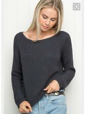 Brandy Melville Dark Blue cropped boatneck pullover Gwen knit sweater NWT OS