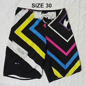 Billabong Mens Size 30 Board Shorts Trunks Black + Colorful Eco Supreme Suede
