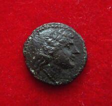 SICILY AKRAGAS Æ23 Laureate head of Apollo / tripod Rare bronze 279-241 BC.