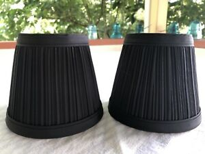 """BLACK 4.5"""" Fabric Pleated Mini Chandelier Sconce Lamp Shade Traditional Pair"""