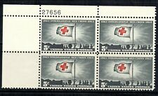 #1239 1963 5-cent Red Cross block of 4 with plate# MNH