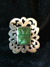 Silver Tribal Mexico Pin Brooch Pendant Vintage Mayan Aztec Carved Jade Sterling