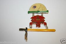 Vintage Vintage LIONS Club Sacramento CA Asian Samari Sword 3 Piece Pin Senator