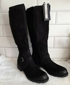 M&S Black Nubuck Leather Wide Fit Long Boots Size 8 Brand New With Tag