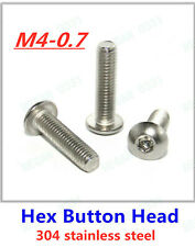 M4-0.7 Allen Hex Socket Button Head Screw Bolt 304 Stainless Steel A2-70 ISO7380