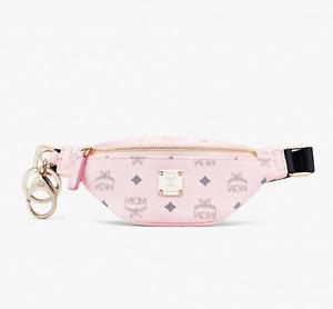 $350 MCM Powder Pink Visetos Mini Belt Bag Charm Key Ring MXZASVI15QH001
