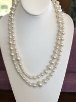 Vintage white imitation pearl beaded Extra long necklace 48 Inches Nice Luster
