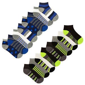 Boys Trainer Liner Socks 8 Pack Design Liners Stars Stripes Childrens Socks
