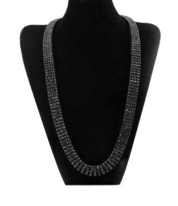 Big Bold 14K BLACK GOLD FINISH 4 ROW LAB SIMULATED CRYSTAL TENNIS CHAIN NECKLACE