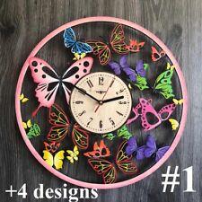 Butterfly Wall Clock Wall Art Silent Wall Clock Wooden Clock Unique Modern