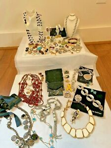 HUGE Vtg 100pc Jewelry Lot Givenchy Ciner Escada Florenza Swarovski St. John KJL