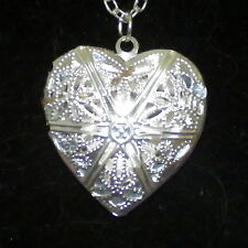 New Silver Alloy Heart Photo Locket Pendant on a Rolo Link Chain Necklace