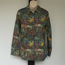 'BLUE ILLUSION' BNWT SIZE 'S' GREEN FLORAL ADJUSTABLE SLEEVE COTTON BLEND SHIRT