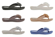Ella Womens Danni Flower Diamante Low Wedge Toe Post Flip Flop Sandals.