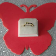 EXCELLENT 9CT YELLOW GOLD 5 STONES NATURAL BLACK SAPPHIRE RING  SIZE 0 IN BOX