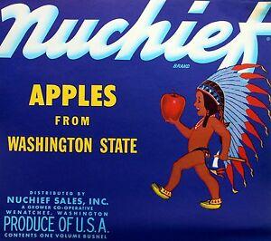 Nuchief VTG Wenatchee Washingtion Apple Label Original Fruit Crate Label Bushel