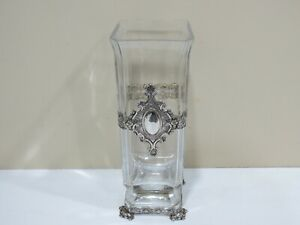 Antique Vintage Large ART DECO. STERLING SILVER & GLASS VASE