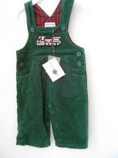 Hartstrings Boys Green Corduroy Christmas Overalls-NWT Sizes: 0-3 or 3-6 Month
