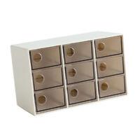 Office Drawer Storage Box Desk Organizer Sorting Case Plastic Brown 9 Grid