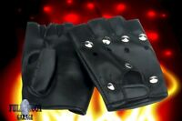 New Studded Fingerless Circle Biker Punk Goth Driving Faux Leather Gloves