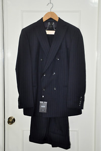 HUGO BOSS INDIGO BLUE 100% WOOL STRIPED DOUBLE BREASTED SUIT sz. EUR 54 / US 44R