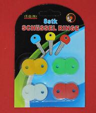8 Stück Schlüsselkennringe Schlüsselmarkierer Schlüsselkappen 4 Farben rund
