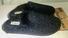 Dearfoams Women Large (9/10) Slippers Chenille Black Memory Foam Clog Slip-On