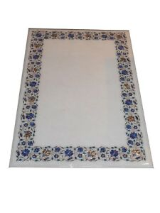 "48"" x 24"" Marble Center Coffee Table Top Handmade Floral Inlay Work"