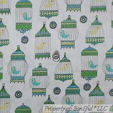 BonEful Fabric FQ Cotton Quilt White Green Blue Love Bird Sweet Cage House Retro