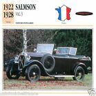 SALMSON VAL 3 1922 1928 CAR VOITURE FRANCE CARTE CARD FICHE
