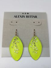 NEW Alexis Bittar Lucite Dust Long Leaf Statement Earrings NEON YELLOW RARE
