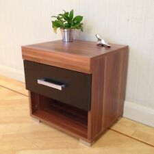 Black & Walnut Bedside Table / Cabinet with 1 Drawer Bedroom Furniture *NEW*