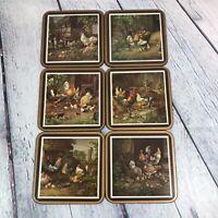 6 Pimpernel FARMYARD SCENES Coasters Acrylic Finish Cork Back Square Vintage