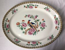 """F Winkle Pheasant Oval Platter England Whieldon Ware c1925 Extra Large 18.5"""""""