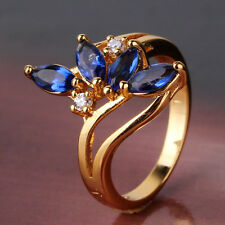 New Fashion 24k gold filled precious Shiny Blue sapphire crystal ring Sz5-Sz9