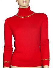 LUXE OH `DOR® 100% Cashmere Luxus Rollkragen Pullover red rot gold 50/52 XXL