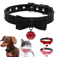 Cute Bowknot Leather Cat Dog Collars with Bell for Chihuahua Dachshund Pug
