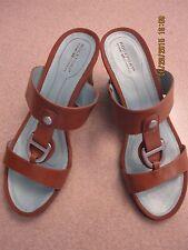 """NIB ROCKPORT Nerea Friar Brown Sandal Slide 9M 3"""" heel"""
