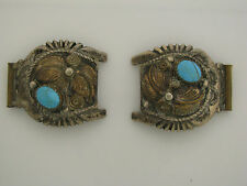 Sterling Silver Watch Tips with Turquoise - Signed BAHE