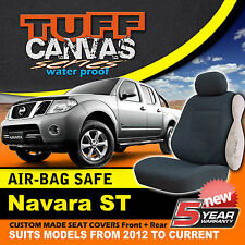 TUFF Canvas Nissan Navara D40 ST Custom Made Seat Covers F+R 2012-ON CHARCOAL