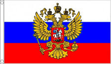 RUSSIA with EAGLE CREST FLAG 5' x 3' USSR Russian Coat of Arms Flags