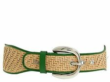 $325 NEW DOLCE & GABBANA D&G Logo 34 IN 85 CM Silver Buckle Textile Leather Belt