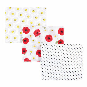 Hudson Baby Cotton Muslin Swaddle Blankets, Poppy Daisy, One Size