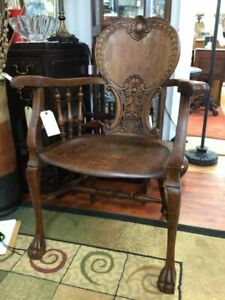 Antique Victorian Carved Wood Arm Chair Claw Foot Stickley & Brandt
