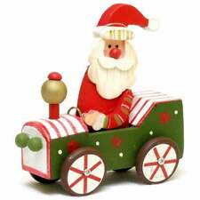 Wooden Santa in Green Car