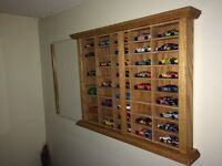 Hand Crafted Oak Display Case Match Box Hot Wheels 1/64 Scale Die Cast NASCAR