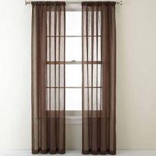 "New Listing2 Panels Sheer Window Curtains Drapes Set 84"" Long Rod Pocket Solid"