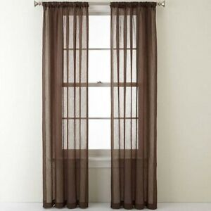 "2 Panels Sheer Window Curtains Drapes Set 84"" Long Rod Pocket Solid"