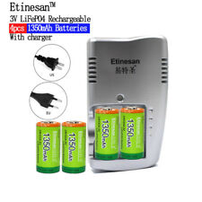 4pcs Etinesan 1350mAh 3v CR123A rechargeable lithium li-ion battery + charger