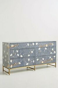 Bone inlay chest of 6 drawers flower design table indigo blue color home decor